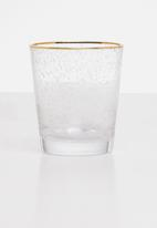 Excellent Housewares - Gold rim water glass set of 2 - clear