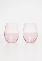 Excellent Housewares - Rose water glass set of 2 - pink