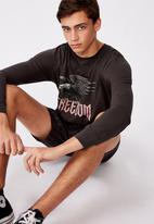 Factorie - Freedom eagle slim long sleeve graphic T-shirt - pirate black