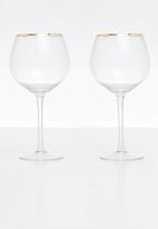 Excellent Housewares - Gold rim wine glass set of 2 - clear