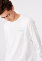 Factorie - Villain records slim long sleeve graphic T-shirt - white