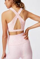 Cotton On - Workout cut out crop ditsy texture - peony pink