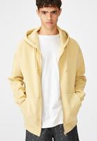 Factorie - Washed zip through hoodie - yellow