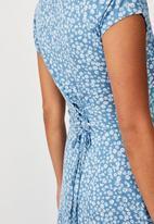 Cotton On - Becky tie back mini tea dress frankie ditsy - provincial blue