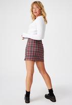 Factorie - Double split mini skirt - red & black