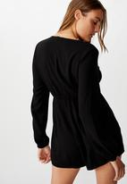 Cotton On - Woven Alena tie front long sleeve playsuit - black