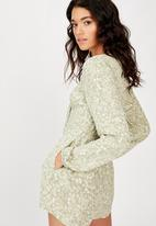 Cotton On - Woven Alena tie front long sleeve playsuit floral paisley - tea
