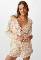 Cotton On - Woven Alena tie front long sleeve playsuit multi ditsy - gardenia