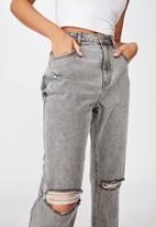 Factorie - Ripped mom jeans - grey