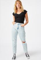 Factorie - Ripped mom jeans - acid blue