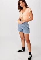 Factorie - Short sleeve lettuce cardi - peach
