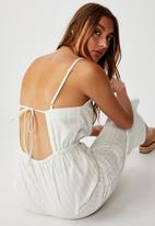 Cotton On - Woven Amanda pinafore jumpsuit leigh stripe - white & brown