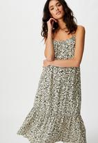 Cotton On - Woven Serena straight neck midi dress floral paisley - parchment