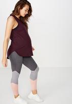 Cotton On - Maternity active curve hem tank top - burgundy