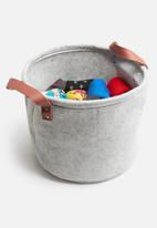 Bathroom Solutions - Felt round storage basket - grey