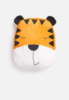 H&S - Tiger face cushion - orange & white