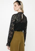 Vero Moda - Ginny long sleeve highneck lace blouse - black
