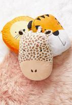 H&S - Giraffe face cushion - cream & brown