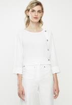 MANGO - Wrap blouse - off white