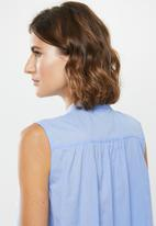 edit - Sleeveless cotton voile tunic - blue