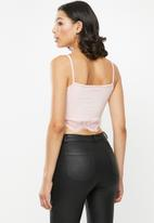 Missguided - 2 Pack jersey lace trim bralet - pink & black