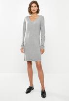 Jacqueline de Yong - Valley treats long sleeve dress - grey