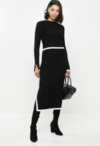 Missguided - Rib contrast jumper & midi skirt - black