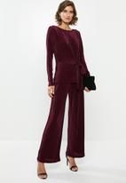 edit - Side tie long sleeve top - burgundy