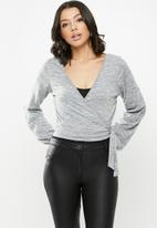 Missguided - Jersey wrap front tie side blouse - grey