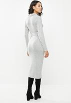 Missguided - Brushed knit high neck belted midi dress - grey