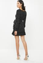 Missguided - Ruched side tea dress polka - black