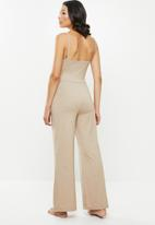Missguided - Strappy wide leg loungewear jumpsuit - beige