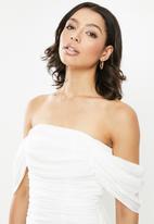 Missguided - Ruched bardot midi dress - white