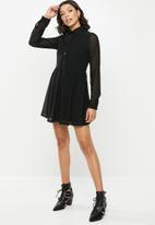 Missguided - Dobby shirt smock dress - black