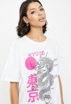 Missguided - Oversized dragon graphic T -shirt - white