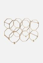 Present Time - Honeycomb wine rack - gold