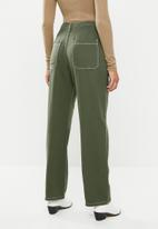 Missguided - Cropped wide leg contrast stitch corduroy - khaki