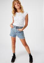 Factorie - Short sleeve pointelle top Hannah ditsy - pink & white