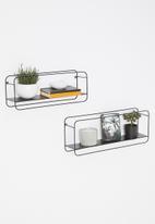 H&S - Metal wall rack set of 2 - black