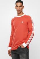 adidas Originals - 3 Stripe long sleeve tee - red & white