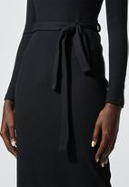 Superbalist - Rib belted bodycon dress - black