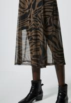 Superbalist - Mesh fit & flare dress - black & brown