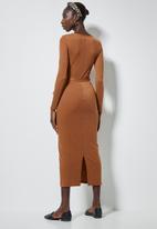 Superbalist - Rib belted bodycon dress - rust