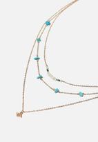 Rubi - Summer charm trinkets necklace  - gold & blue