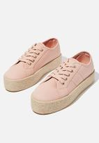 Cotton On - Willow espadrille sneaker - dusty pink twill