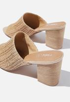 Cotton On - Colette heeled mule - natural raffia