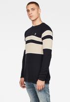 G-Star RAW - Raglan block stripe knit - black & neutral