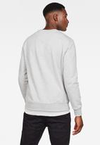 G-Star RAW - Embro paneled gr round neck sweater - grey