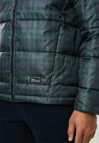 Only & Sons - Rick check hooded puffer - green & navy