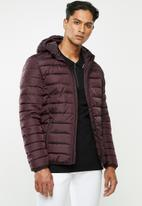 Only & Sons - Liner puff hood jacket - burgundy